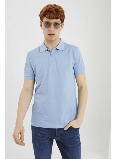 Z Giyim Pamuklu Düğmeli Polo Yaka T-shirt Mavi